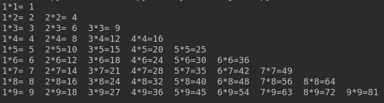 利用Python循环(包括while&for)各种打印九九乘法表的实例